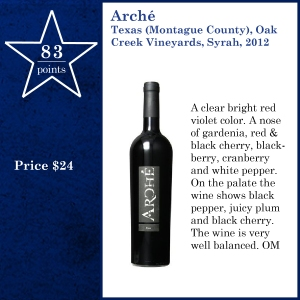 Arché Texas (Montague County), Oak Creek Vineyards, Syrah, 2012