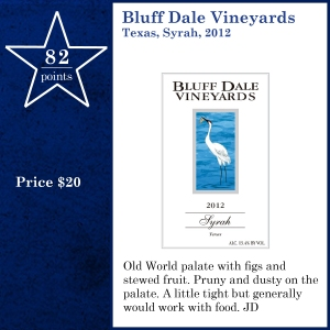Bluff Dale Vineyards Texas, Syrah, 2012