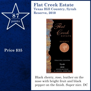 Flat Creek Estate Texas Hill Country, Syrah Reserve, 2010