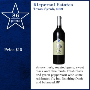 Kiepersol Estates Texas, Syrah, 2009