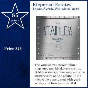 Kiepersol Estates Texas, Syrah, 'Stainless,' 2010