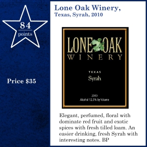 Lone Oak Winery, Texas, Syrah, 2010