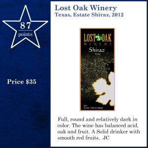 Lost Oak Winery Texas, Estate Shiraz, 2012