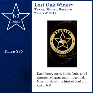 Lost Oak Winery Texas, Shiraz, Reserve 'Sherrif' 2011