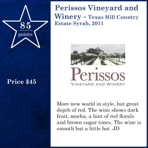 Perissos Vineyard and Winery - Texas Hill Country Estate Syrah, 2011