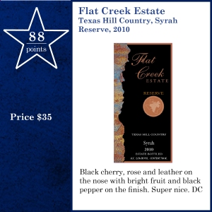 TXvTW-Flat Creek Estate Texas Hill Country, Syrah Reserve, 2010