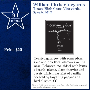 William Chris Vineyards Texas, High Cross Vineyards, Syrah, 2012