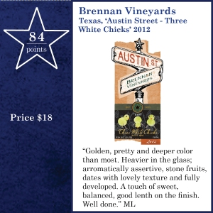 Brennan Vineyards Texas, 'Austin Street - Three White Chicks' 2012