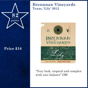 Brennnan Vineyards Texas, 'Lily' 2012