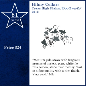 Hilmy Cellars Texas High Plains, 'Doo-Zwa-Zo' 2012