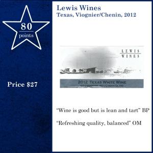 Lewis Wines  Texas, Viognier-Chenin, 2012