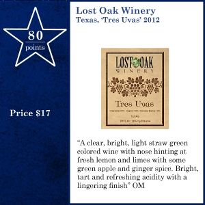 Lost Oak Winery Texas, 'Tres Uvas' 2012