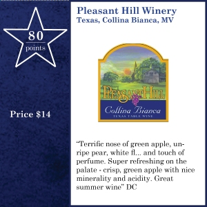 Pleasant Hill Winery  Texas, Collina Bianca, MV