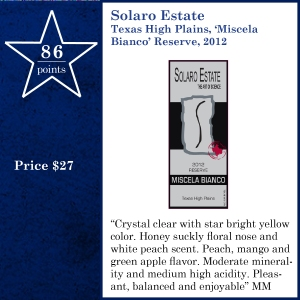 Solaro Estate Texas High Plains, 'Miscela Bianco' Reserve, 2012