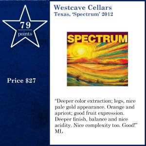 Westcave Cellars Texas, 'Spectrum' 2012