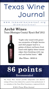 Arché Wines Texas (Montague County) 'Ryan's Red' 2012, 86 pts