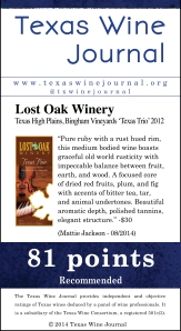 Lost Oak Winery Texas High Plains, Bingham Vineyards 'Texas Trio' 2012, 81 pts