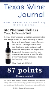 McPherson Cellars Texas, 'La Herencia' 2012, 87 pts