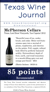 McPherson Cellars Texas, Lost Draw Vineyards, 'Les Copains' 2012, 85pts
