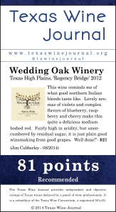 Wedding Oak Winery Texas High Plains, 'Regency Bridge' 2012, 81 pts
