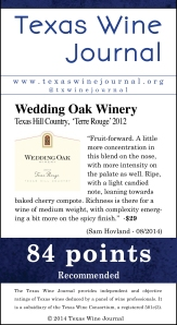 Wedding Oak Winery Texas Hill Country,  'Terre Rouge' 2012, 84pts